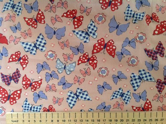 High quality cotton poplin, butterflies on salmon pink