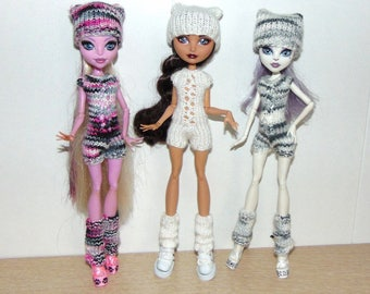 Monster High Doll Clothes Set, Knitted Clothing, Puppet Shoes