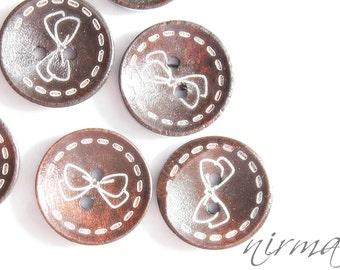 6 pcs Wood buttons, Dark Brown Coffee Wooden Button, Scrapbook button, Sewing Button, Embellishment, Craft Scrapbooking Supply