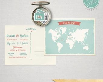 Destination wedding Bilingual Save the Date World Map Card save the date invitation World map International couple DEPOSIT PAYMENT