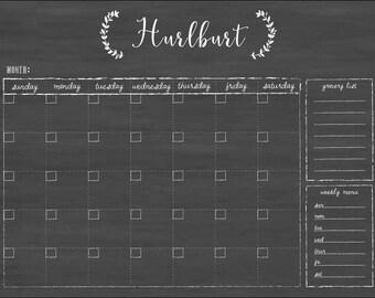 Chalkboard Calendar , Chalkboard Style Dry-Erase Calendar , Custom Reusable Calendar , 18x24 Calendar #1826