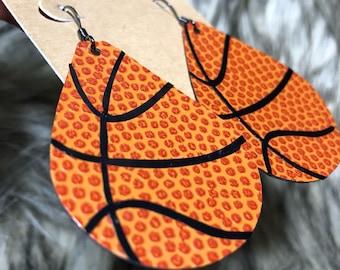 Faux Leather Basketball Earrings