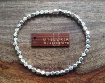 Silver bracelet, silver beaded bracelet, silver stretch bracelet, stacking silver bracelet, layering silver bracelet, minimalist bracelet