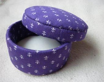 Purple fleur de lis theme fabric box