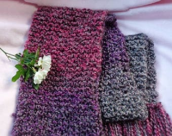 Knitted Scarf Worsted Variegated Jewel Tones