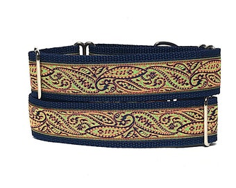 Paisley martingale, dog collar, JARDIN, paisley dog collar, orange, navy and green, Safety Collar, Greyhound Collar, Sighthound Collar