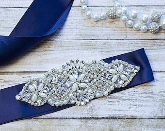 Bridal Sash...Navy Rhinestone Belt -Flower Girl Sash..Bridal Belt/ Sash..Bridesmaid Coordinating Sashes..Maternity Sash / Wedding Sash