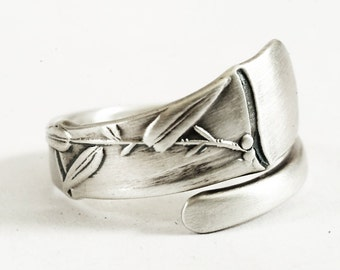 Rare Antique Spoon Ring With Asian Bamboo Ring 950 Sterling Silver, Handmade & Adjustable to Your Size (6507)
