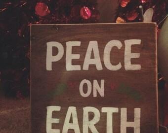 Peace on Earth Wood Sign