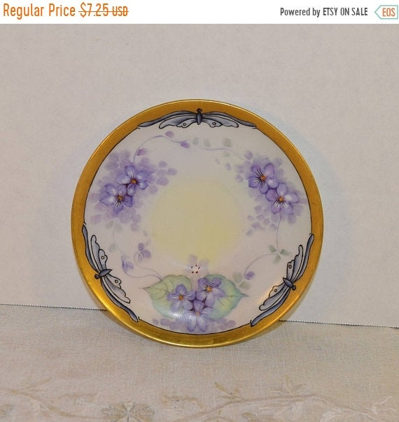 Delayed Shipping Purple Butterfly Saucer Vintage Shabby Chic Saucer Painted Purple Flowers Butterflies Gold Trim Afternoon Tea Floral Plate