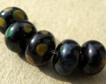 Lampwork glass beads spacer beads in black and raku