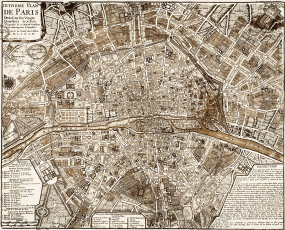 1705 Paris Map Vintage Restoration  Style wall map Decor old world Map city plan of Paris France Street map Print anniversary gift