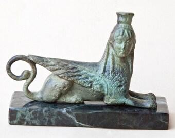 Greek Mythical Creature Metal Sculpture, Metal Art Sculpture, Museum Replica, Greek Mythology, Collectible, Home Decor, Bronze Greek Sphinx