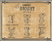 "Ladies Corset Printable 11X14"" Poster Victorian Steampunk Sweetheart Can-can High Dive Mama Mia Underworld Fraulein Sexy Lingerie Names"
