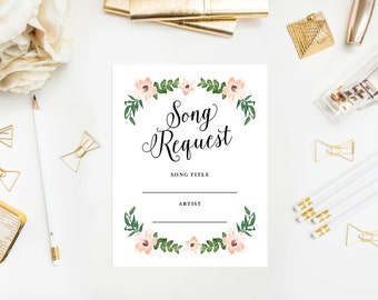 Instant Download - Romantic Vines Song Request Card