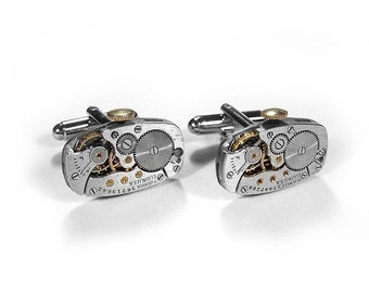 Mens Watch Cufflinks ELGIN Watch Cuff Links Wedding Anniversary Groom, Fathers Day, Fiancee Cufflinks Gift - Steampunk Jewelry by edmdesigns