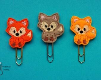 Fox paper clip, fox planner clip, woodland animals planner accessory, light brown felt fox clip / bookmark