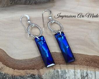 Crystal Earrings, Rectangle Crystal Earrings, Rectangle Earrings, Sterling Silver Earrings, Swarovski Earrings, Jewelry