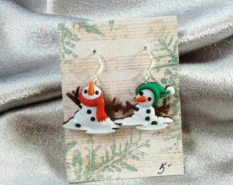 Snowman earrings Christmas earrings holiday winter earrings Brockus Creations
