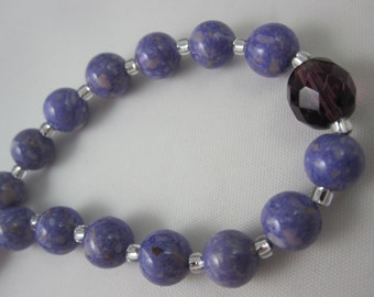 Light Purple Riverstone and Amethyst Fire-Polished Glass Chaplet