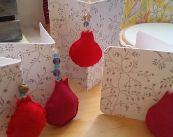 SHANA TOVA blessing , Happy New Year blessing , Greeting Card with pomegranate made from vegan felt , Hand made