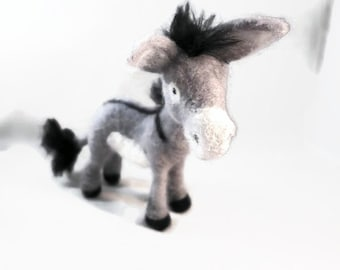 Needle Felted Donkey, Handmade Donkey, Needle Felted Animals , Felted Donkey, Gift for Her, Felted Burro, Felt Animals, Felted Animals