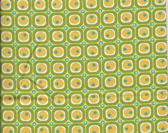 New Green with White Squares, Yellow Circles, and Blue Dots 100% cotton fabric by the half yard