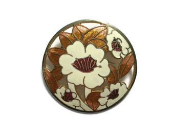 Floral Enamel Cloisonne Brooch   Vintage Brooch   Art Nouveau Style   Gift Boxed   Round Flower Brooch   Autumn Tones