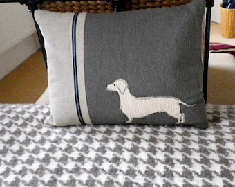 Hand printed charcoal and ivory daschund cushion