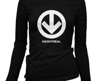 Women's Montreal Metro Long Sleeve Tee - S M L XL 2x - Ladies' Montreal T-shirt, Quebec, Canada - 4 Colors