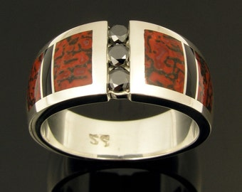 His and His Wedding Ring Set with Dinosaur Bone and Black Diamonds