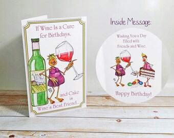 Anniversaire carte de vin est un remède pour le plaisir de célébration anniversaire gâteau amitié