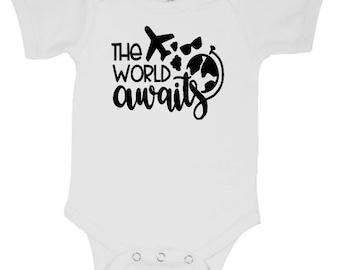 The World Awaits Travel Wanderlust Infant Baby Kids Children Shirt Bodysuit Many Sizes Colors Jenuine Crafts