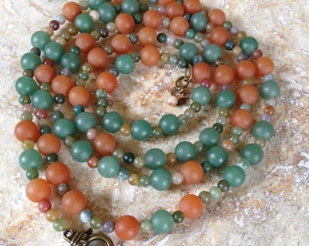 Aventurine Necklace, green and orange, long necklace