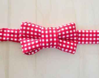 Red Gingham Bow Tie for Cats