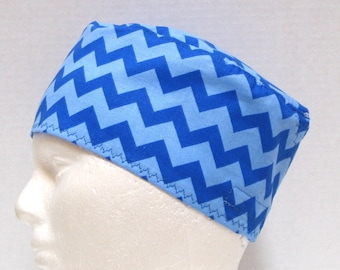 Mens Scrub Hat, Surgical Cap, Scrub Cap, Blue on Blue Chevrons