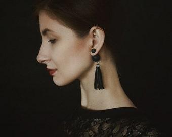Double Ball Earrings, Double Pearl Earring,Tribal Earrings, Black Stud Earrings, Black Earrings, Double Sided Earrings