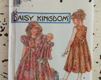 Simplicity Daisy Kingdom Girls Dress Hat Doll Dress Size 7 8 10 12 UNCUT FF 7550