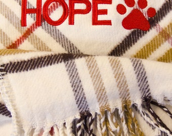 Personalised Dog's Blanket with Embroidered Name and Paw Design (Brown Tartan)