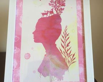 Framed lady of the forest artwork