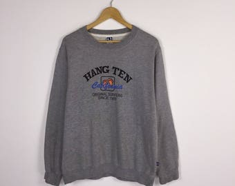 Rare!! Vintage Hang Ten California Surfer Hang Ten Sweatshirts Stripes Surfboards Hawaiian Dope Hip Hop Rap Swag Large sz