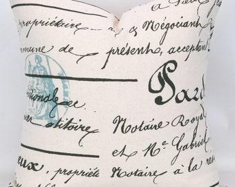 French Script Pillow Cover -MANY SIZES- Handwriting Throw Pillow, Writing Cushion, Ecru Blue Brown Penmanship Village Premier Prints,