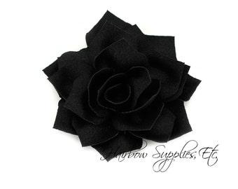 Black Lotus Flowers 3 inch - Black Fabric Flowers, Black Flower Headband Baby, Black Flower Heads, Black Headband, Black Hair Flowers