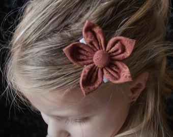 Hair Bow - Rust Calico Fabric Flower