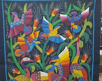 Tarek Al Safty, Amazing Cranes design Multi Colors on Navy Blue Background, Master piece by Tentmakers of Cairo.
