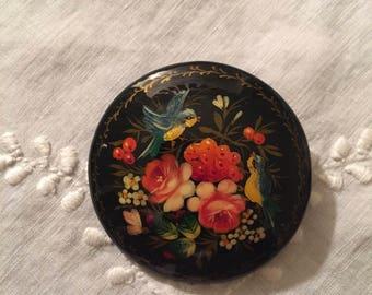 Russian Enamel Paint on Wood Brooch