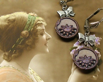 1800s Antique BUTTON earrings, Victorian purple flowers on silver. One of a kind jewellery.
