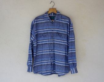 Vintage Blue Striped Shirt - Size Extra Large