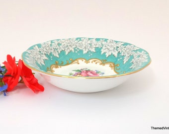 Royal Albert Enchantment small fruit nappy bowl turquoise border with gold trim and floral bouquet centre