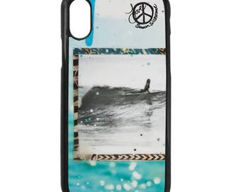 NEW iPhone X Case, Best Seller, SHE SLIDES, Modern, Surf, Orchid, Long Board, Female Surfer, iPhoneX, Beach, Art, black case color